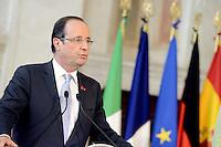 Roma, 22 Giugno 2012.Villa Madama.Vertice quadrilaterale su Eurozona con i leader di Italia, Francia, Germania e Spagna.Nella foto Francois Hollande