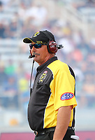 Oct 28, 2016; Las Vegas, NV, USA; NHRA official chief starter Mike Gittings during qualifying for the Toyota Nationals at The Strip at Las Vegas Motor Speedway. Mandatory Credit: Mark J. Rebilas-USA TODAY Sports