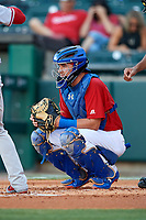 Buffalo Bisons catcher Reese McGuire (3) during a game against the Syracuse Chiefs on July 6, 2018 at Coca-Cola Field in Buffalo, New York.  Buffalo defeated Syracuse 6-4.  (Mike Janes/Four Seam Images)