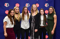 New York, NY - Thursday February 02, 2017: Stephanie McCaffrey, Kristie Mewis, Alyssa Naeher, Samantha Mewis, Rose Lavelle, Lynn Williams during a joint NWSL and A+E Networks press conference at the A+E headquarters.