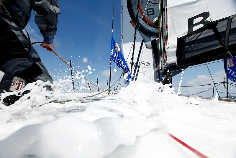 Onboard Hugo Boss  racing around the Isle of Wight in the Artemis Challenge. Skipper Alex Thomson & Crew along with celebrity Ewan McGregor.