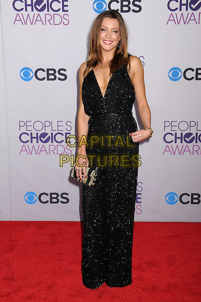 Katie Cassidy.People's Choice Awards 2013 - Arrivals held at Nokia Theatre L.A. Live, Los Angeles, California, USA..January 9th, 2013.full length black sparkly jumpsuit hand in pocket clutch bag   .CAP/ADM/BP.©Byron Purvis/AdMedia/Capital Pictures.