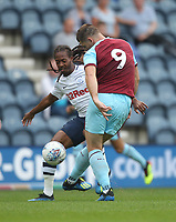 Burnley's Sam Vokes battles with Preston North End's Daniel Johnson<br /> <br /> Photographer Mick Walker/CameraSport<br /> <br /> Football Pre-Season Friendly - Preston North End  v Burnley FC  - Monday 23st July 2018 - Deepdale  - Preston<br /> <br /> World Copyright &copy; 2018 CameraSport. All rights reserved. 43 Linden Ave. Countesthorpe. Leicester. England. LE8 5PG - Tel: +44 (0) 116 277 4147 - admin@camerasport.com - www.camerasport.com