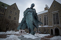 A statue of Saint Ignatius Loyola stands on Boston College's Chestnut Hill, Massachusetts, campus on Tues., Dec. 17, 2013. Boston College is a private Jesuit research university in the suburbs of Boston.