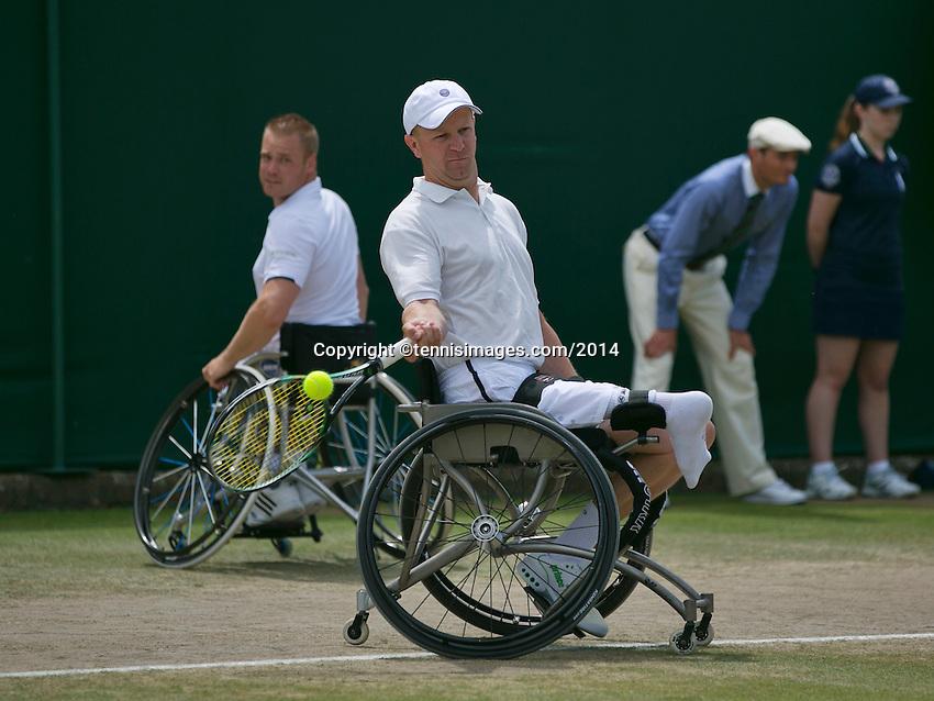 July 6, 2014, UK, London, Tennis, Wimbledon, AELTC, Men's Wheelchair Doubles Final: Stephane Houdet (FRA) & Shingo Kunieda (JPN) v Maikel Scheffers (NED) & Ronald Vink (NED), Pictured: <br /> <br /> Photo: Tennisimages/Henk Koster
