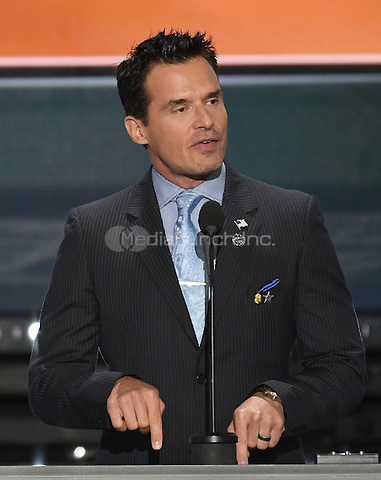 Antonio Sabato, Jr. makes remarks at the 2016 Republican National Convention held at the Quicken Loans Arena in Cleveland, Ohio on Monday, July 18, 2016.<br /> Credit: Ron Sachs / CNP/MediaPunch<br /> (RESTRICTION: NO New York or New Jersey Newspapers or newspapers within a 75 mile radius of New York City)