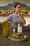 Pie-o-neer Cafe on US 60 Catherine contemplates a question behind a piece of pie in the restaurant