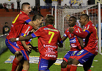 PASTO -COLOMBIA, 06-08-2017: Robin Ramirez (segundo desde Izq) jugador del Deportivo Pasto celebra después de anotar un gol a América de Cali durante partido por la fecha 6 de la Liga Águila II 201/ jugado en el estadio La Libertad de Pasto. / Robin Ramirez (second from L) player of Deportivo Pasto celebrates after scoring a goal to America de Cali during match for the date 6 of Aguila League II 2017 played at La Libertad stadium in Pasto. Photo: VizzorImage / Leonardo Castro / Cont