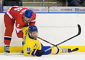 David Musil (Czech Republic - 6), Filip Gunnarsson (Sweden - 18) - Sweden defeated the Czech Republic 4-2 at the Urban Plains Center in Fargo, North Dakota, on Saturday, April 18, 2009, in their final match of the 2009 World Under 18 Championship.