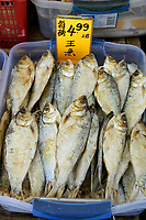 Dried and salted fish for sale in a shop in Chinatown, Vancouver, British Columbia, Canada