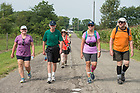 August 16, 2017; Pilgrims walk on day 3 of ND Trail. They biked 23.2 miles and walked 7.8 from Pimento to Bridgeton. As part of the University's 175th anniversary celebration, the Notre Dame Trail will commemorate Father Sorin and the Holy Cross Brothers' journey. A small group of pilgrims will make the entire 300+ mile journey from Vincennes to Notre Dame over  two weeks.(Photo by Barbara Johnston/University of Notre Dame)