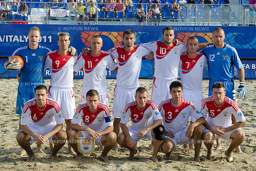 Russia team group line up (RUS), SEPTEMBER 06, 2011 - Beach Soccer : FIFA Beach Soccer World Cup Ravenna-Italy 2011 Group C match between Venezuela 3-7 Russia at Stadio del Mare, Marina di Ravenna, Italy, (Photo by Enrico Calderoni/AFLO SPORT) [0391]