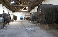 Lots of space in the winery with old big wooden casks for storing wine. Bodega Plaza Vidiella Winery, Las Brujas, Canelones, Uruguay, South America