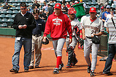 April 11, 2010:  First overall draft pick of the 2009 MLB Draft Stephen Strasburg (37) walks from the dugout with Pitching coach Randy Tomlin (29) and catcher Jhonathan Solano (back) before making his professional debut with the Harrisburg Senators, Double-A affiliate of the Washington Nationals, in a game vs. the Altoona Curve, affiliate of the Pittsburgh Pirates, at Blair County Ballpark in Altoona, PA.  Photo By Mike Janes/Four Seam Images