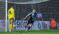 Garry Thompson of Wycombe Wanderers celebrates scoring his 100th league goal during the Sky Bet League 2 match between Wycombe Wanderers and Portsmouth at Adams Park, High Wycombe, England on 28 November 2015. Photo by Andy Rowland.