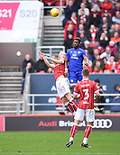 4th November 2017, Ashton Gate, Bristol, England; EFL Championship football, Bristol City versus Cardiff City; Omar Bogle of Cardiff City and Horour Bjorgvin Magnusson of Bristol City compete in the air