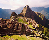PERU, Machu Picchu, South America, Latin America, high angle view of ruins at Machu Picchu