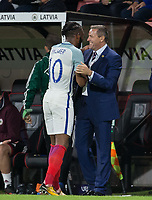Kasey Palmer (Huddersfield Town (on loan from Chelsea) of England U21 with a happy England U21 Head Coach (Manager) Aidy Boothroyd after being substituted moments after his goal during the UEFA EURO U-21 First qualifying round International match between England 21 and Latvia U21 at the Goldsands Stadium, Bournemouth, England on 5 September 2017. Photo by Andy Rowland.