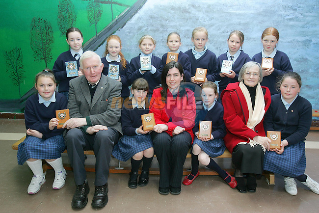 £rd Class Marymount students with there plaques in the 'Pioneer Poster CompetitionÕ with Elaine Grennan of Drogheda Concentrates and mambers of the Committee..Photo NEWSFILE/FRAN CAFFREY..(Photo credit should read FRAN CAFFREY/NEWSFILE)...This Picture has been sent you under the condtions enclosed by:.Newsfile Ltd..the Studio,.Millmount Abbey,.Drogheda,.Co Meath..Ireland..Tel: +353(0)41-9871240.Fax: +353(0)41-9871260.GSM: +353(0)86-2500958.email: pictures@newsfile.ie.www.newsfile.ie.FTP: 193.120.102.198..This picture is from Fran Caffrey@newsfile.ie