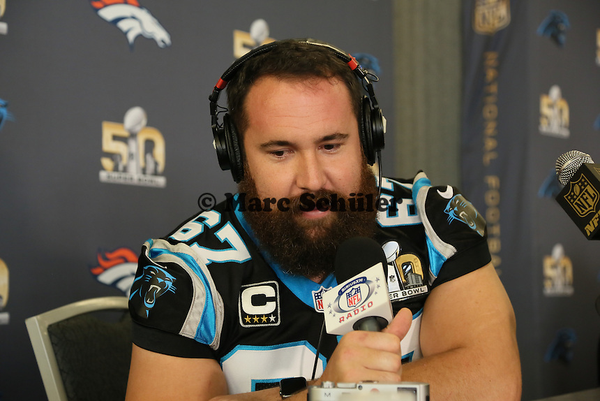 C Ryan Kalil (Panthers) - Super Bowl 50 Carolina Panthers PK, Convention Center San Jose