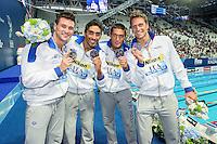 Team Italy ITA<br /> (L to R) ORSI Marco, MAGNINI Filippo, SANTUCCI Michele, DOTTO Luca<br /> 4X100 Freestyle Relay Men Final Bronze Medal<br /> Swimming Kazan Arena<br /> Day10 02/08/2015<br /> XVI FINA World Championships Aquatics Swimming<br /> Kazan Tatarstan RUS July 24 - Aug. 9 2015 <br /> Photo G.Scala/Deepbluemedia/Insidefoto