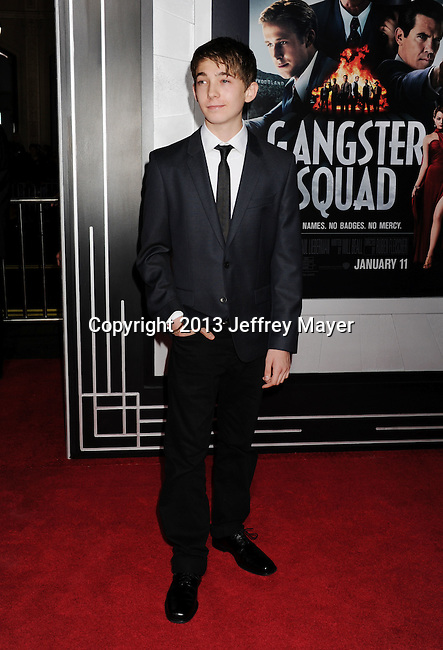 HOLLYWOOD, CA - JANUARY 07: Austin Abrams arrives at the 'Gangster Squad' - Los Angeles Premiere at Grauman's Chinese Theatre on January 7, 2013 in Hollywood, California.