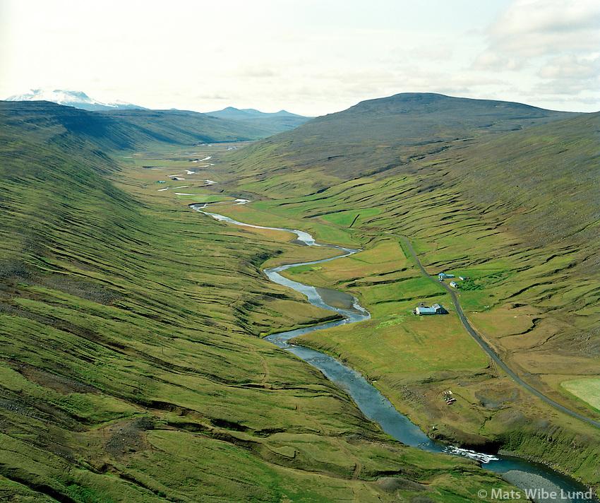 Vaðbrekka séð til suðurs, Fljótsdalshérað áður Jökuldalshreppur / Vadbrekka viewing south, Fljotsdalsherad former Jokuldalshreppur.