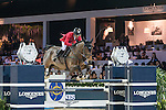 Pius Scwhizer of Switzerland riding Leonard de la Ferme CH competes during the Longines Speed Challenge, part of the Longines Masters of Hong Kong on 11 February 2017 at the Asia World Expo in Hong Kong, China. Photo by Juan Manuel Serrano / Power Sport Images