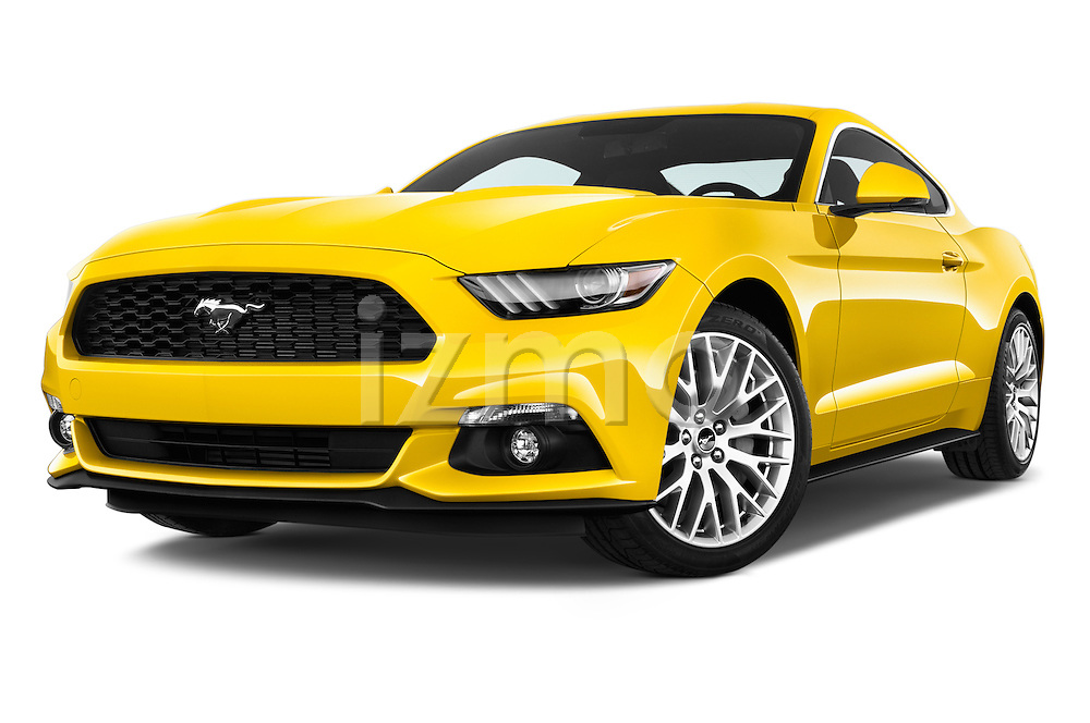 Stock pictures of low aggressive front three quarter view of 2016 Ford Mustang EcoBoost 2 Door Coupe Low Aggressive