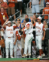 Texas bench celebrates a run against Texas A&M on May 16th, 2008 in Austin Texas. Photo by Andrew Woolley / Four Seam Images.