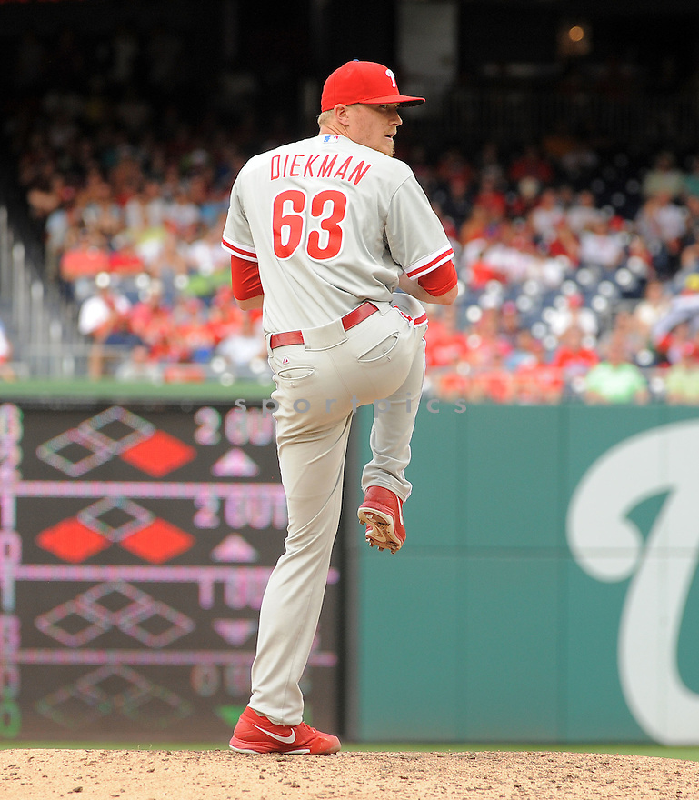 Philadelphia Phillies Jake Diekman (63) during a game against the Washington Nationals on August 3, 2014 at Nationals Park in Washington, DC. The Nationals beat the Phillies 4-0.