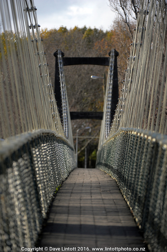 Waipoua River swingbridge. Masterton District Council photoshoot in Masterton, New Zealand on Tuesday, 5 July 2015. Photo: Dave Lintott / lintottphoto.co.nz
