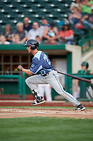 West Michigan Whitecaps center fielder Luke Burch (27) hits a single during a game against the Fort Wayne TinCaps on May 17, 2018 at Parkview Field in Fort Wayne, Indiana.  Fort Wayne defeated West Michigan 7-3.  (Mike Janes/Four Seam Images)