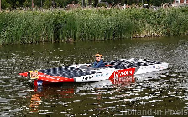 Nederland Purmerend -  22 juni  2018.  Solar Boat Race. Het onderdeel: Topspeed Solar Sport One. Boten verzamelen zich voor de start.   Foto Berlinda van Dam Hollandse Hioogte