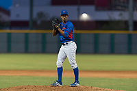 AZL Cubs 2 relief pitcher Elias Herrera (67) gets ready to deliver a pitch during an Arizona League game against the AZL White Sox at Sloan Park on July 13, 2018 in Mesa, Arizona. The AZL Cubs 2 defeated the AZL White Sox by a score of 6-4. (Zachary Lucy/Four Seam Images)