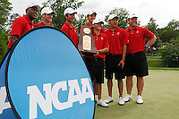 2 June 2007:  The Stanford Golf Team wins the NCAA Division I Men's Golf Championship held at the Golden Horseshoe Golf Club, Gold Course in Williamsburg, VA.  (L to R) are: Sam Puryear - Assistant Coach, Rob Grube, Zack Miller, Joseph Bramlett, Matt Savage (with trophy) Daniel Lim and coach Conrad Ray. <br />