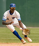 WATERBURY, CT-0712917JS08-- Ontario's Jaden Brown (23) fields a ground ball during their Mickey Mantle World Series game  against Colton (California) Saturday at Municipal Stadium in Waterbury. <br /> Jim Shannon Republican-American