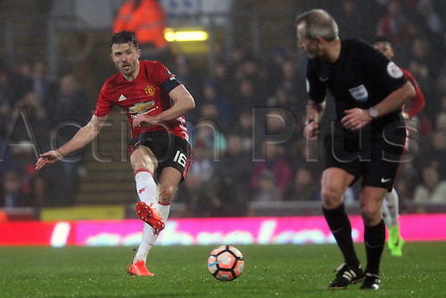 February 19th 2017, Blackburn, Lancashire, England; FA Cup 5th Round football, Blackburn Rovers versus manchester United; Michael Carrick of Manchester United plays a pass through the Blackburn defence.