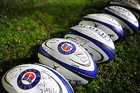 A general view of autographed Bath Rugby branded balls. Aviva Premiership match, between Bath Rugby and Saracens on April 1, 2016 at the Recreation Ground in Bath, England. Photo by: Patrick Khachfe / Onside Images