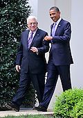 United States President Barack Obama walks President Mahmoud Abbas of the Palestinian Authority to his car after their meeting in the Oval Office of the White House in Washington, D.C. on Wednesday, September 1, 2010.  This is one of several meetings between the President and Middle East Leaders in advance of the opening of the first direct talks in two years between Israel and the Palestinian Authority scheduled to begin at the State Department in Washington, D.C. tomorrow..Credit: Ron Sachs / Pool via CNP