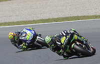 16.06.2013 Barcelona, Spain. Aperol Grand Prix of Catalonia. Picture show Bradley Smith (Yamaha) and Valentino Rosi (Yamaha) in action during Moto GP Racing  at Circuit de Catalunya