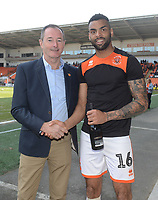 Curtis Tilt is presented with his goal of the month award for March<br /> <br /> Photographer Kevin Barnes/CameraSport<br /> <br /> The EFL Sky Bet League One - Blackpool v Peterborough United - Saturday 13th April 2019 - Bloomfield Road - Blackpool<br /> <br /> World Copyright &copy; 2019 CameraSport. All rights reserved. 43 Linden Ave. Countesthorpe. Leicester. England. LE8 5PG - Tel: +44 (0) 116 277 4147 - admin@camerasport.com - www.camerasport.com