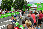 The breakaway Yoann Offredo (FRA) Wanty-Groupe Gobert and Elie Gesbert (FRA) Fortuneo-Oscaro pass through the intermediate sprint at Saint-Cyprien during Stage 10 of the 104th edition of the Tour de France 2017, running 178km from Perigueux to Bergerac, France. 11th July 2017.<br /> Picture: ASO/Alex Broadway | Cyclefile<br /> <br /> <br /> All photos usage must carry mandatory copyright credit (&copy; Cyclefile | ASO/Alex Broadway)