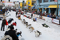 Saturday March 6 , 2010  Mitch Seavey leaves the start line on 4th avenue during the ceremonial start of the 2010 Iditarod in Anchorage , Alaska