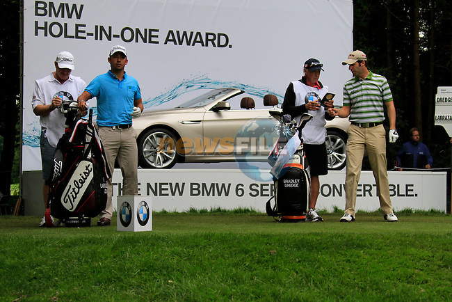 Pablo Larrazabal (ESP) and Bradley Dredge (WAL) wait to tee off on the par3 17th hole during of Day 3 of the BMW International Open at Golf Club Munchen Eichenried, Germany, 25th June 2011 (Photo Eoin Clarke/www.golffile.ie)
