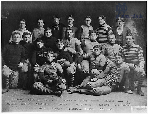 GATH 5/05:  Football Team with names, 1896.  .Reardon, Bill Monahan, Agnus McDonald, John Murphy, Francis Lyons, Francis O'Hara, Trainer Housler, Jack I. Mullen (at left on one knee), Frank Hanley, Tom Cavanaugh, Bill Fagan, Jacob (Rosy) Rosenthal, Charles H. Moritz, John C. Murphy, Mike Daly, Bill Kegler, Captain Frank Hering (center with ball), Bob Brown, Fred Schillo..Image from the University of Notre Dame Archives.