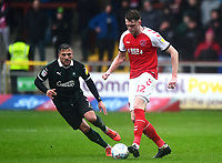 Fleetwood Town's Harry Souttar competes with Plymouth Argyle's Antoni Sarcevic<br /> <br /> Photographer Richard Martin-Roberts/CameraSport<br /> <br /> The EFL Sky Bet League One - Fleetwood Town v Plymouth Argyle - Saturday 16th March 2019 - Highbury Stadium - Fleetwood<br /> <br /> World Copyright © 2019 CameraSport. All rights reserved. 43 Linden Ave. Countesthorpe. Leicester. England. LE8 5PG - Tel: +44 (0) 116 277 4147 - admin@camerasport.com - www.camerasport.com