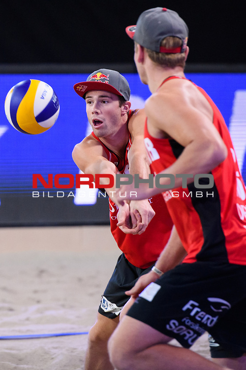 04.01.2019, Den Haag, Sportcampus Zuiderpark<br />Beachvolleyball, FIVB World Tour, 2019 DELA Beach Open<br /><br />Annahme Anders Mol (#1 NOR), Christian Sorum (#2 NOR)<br /><br />  Foto © nordphoto / Kurth