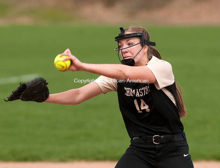 WOODBURY, CT--043015JS12- Thomaston's Morgan Sanson (14) delivers a pitch during their win over Nonnewaug Thursday at Nonnewaug High School in Woodbury.<br /> Jim Shannon Republican-American