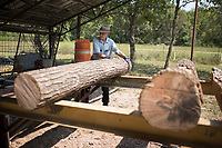 NWA Democrat-Gazette/CHARLIE KAIJO R.D. Hyannis of Huntsville moves lumber to a mill at the Tired Iron of the Ozarks in Gentry, AR on Friday, September 7, 2017. The show features old time Tractors and Engines and exhibitions of old-time saw milling and blacksmith work.